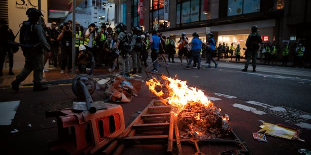 Demonstrationer i Hongkong mot säkerhetslagen. Kin Cheung / TT NYHETSBYRÅN