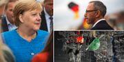 Förbundskansler Angela Merkel. Joerg Urban, toppkandidat för AFD i Sachsen.  TT