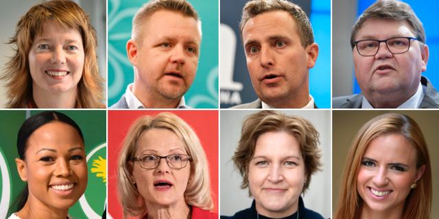Toppkandidaterna för respektive riksdagsparti. TT