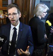 Jakob Forssmed och Elisabeth Svantesson – KD:s och M:s ekonomiskpolitiska talespersoner. Claudio Bresciani/TT / TT NYHETSBYRÅN