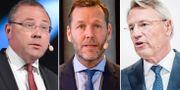 Avgående vd:ar: Saabs Håkan Buskhe, Telias Johan Dennelind och Sandviks Björn Rosengren. TT