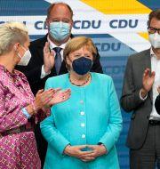 Angela Merkel på CDU:s valvaka i söndags. Martin Meissner / TT NYHETSBYRÅN