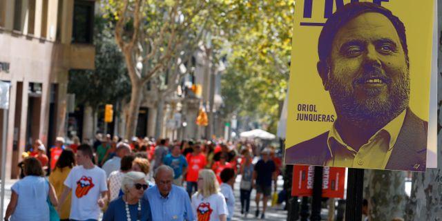 Kampanj om att Oriol Junqueras borde frias från misstankarna sedan Kataloniens försök att bryta sig loss från Spanien. Arkivbild. Enrique Calvo / TT NYHETSBYRÅN
