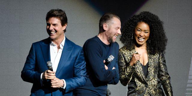 Skådespelarna Tom Cruise, Simon Pegg and Angela Bassett.  Chris Pizzello / TT NYHETSBYRÅN