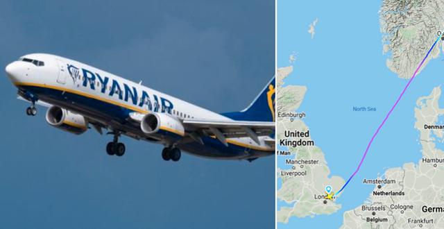 Ryanair-plan (Arkivbild)/Skärmavbild över flygets rutt.  TT