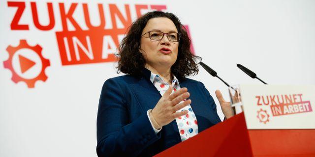 SPD:s ledare  Andrea Nahles ODD ANDERSEN / AFP