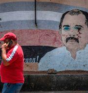 En man går förbi ett vandaliserat porträtt av Daniel Ortega. INTI OCON / TT NYHETSBYRÅN