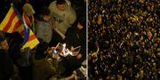 Demonstranter bränner en bild på Spaniens president Mariano Rajoy/tusentals har samlats längs gatorna. TT
