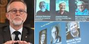 Göran K. Hansson till vänster. Manliga Nobelpristagare i kemi, fysiologi och medicin till höger.  TT