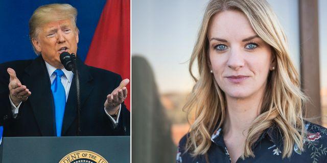 Till vänster: USA:s president Donald Trump. Till höger: Danske Banks sparekonom Maria Landeborn.  TT