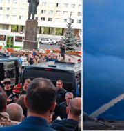 Begravning efter olyckan/bild på det som Putin 2018 sa var deras nya kryssningsrobot med kärnkraft. TT.