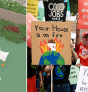 "Bild ur ""Untitled Goose Game""/Klimatprotester i fredags. House House/TT"