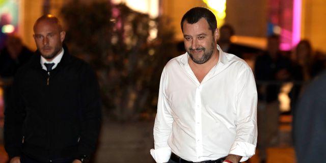 Salvini på tisdagskvällen. Andrew Medichini / TT NYHETSBYRÅN