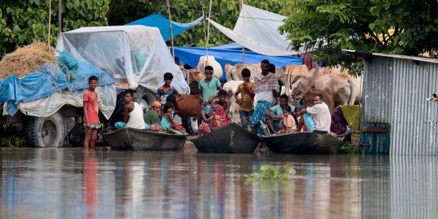 Boende i Assam, Indien.  Anupam Nath / TT NYHETSBYRÅN