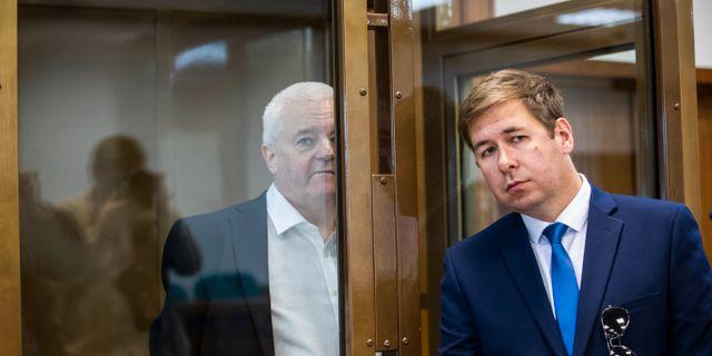 Frode Berg och hans försvarare Ilja Novikov. Berit Roald / TT NYHETSBYRÅN