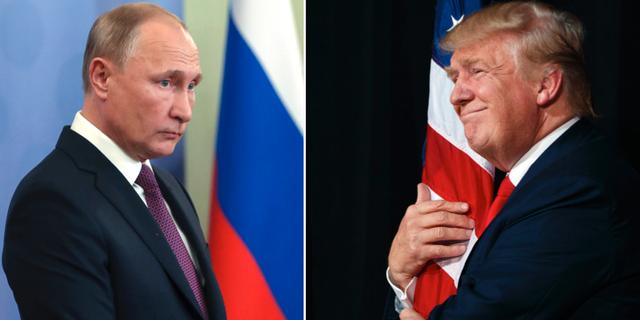 Vladimir Putin och Donald Trump. TT