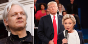 Julian Assange. Hillary Clinton och Donald Trump under en debatt inför USA-valet 2016.  TT