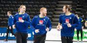 Jim Gottfridsson, Lukas Nilsson och Kim Ekdahl Du Rietz under en träning inför VM. Fredrik Sandberg/TT / TT NYHETSBYRÅN