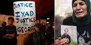 Protester i Jerusalem/Iyad al-Hallaqs mamma med bild på sin son. TT