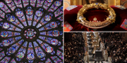 Ett gotiskt rosettfönster från 1200-talet kan ha klarat sig, läget ser dystrare ut för de andra fönstren av samma slag/relik från Jesus törnekrona uppe till höger/kända klockor från Notre-Dame. TT