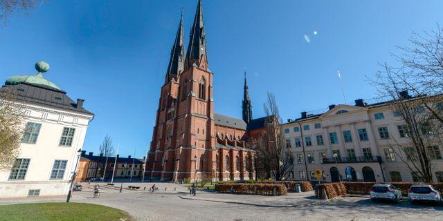 Uppsala domkyrkan där handboken symboliskt överlämnas till ärkebiskop Antje Jackelén idag. Bertil Ericson / TT / TT NYHETSBYRÅN