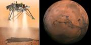 Nasas illustrationsbild över hur det ser ut när rymdsonden landar på Mars. TT