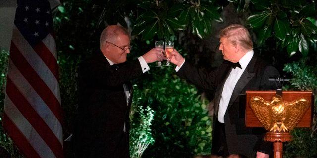Arkivbild: Australiens premiärminister Scott Morrison besökte Donald Trump i Vita huset i höstas.  ALEX EDELMAN / AFP