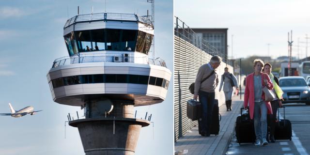 Flygledartorn / belgiska passagerare vid en strejk 2016.  TT