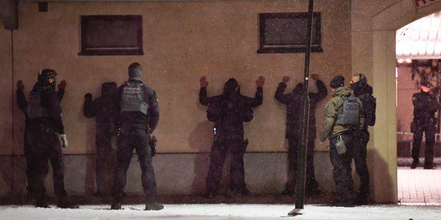 Bild från platsen efter skjutningen. Stina Stjernkvist/TT / TT NYHETSBYRÅN
