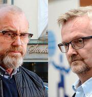 Johan Lindholm, ordförande Byggnads (t.v) och Mats Åkerlind, vice vd och förhandlingschef på Byggföretagen (t.h) TT