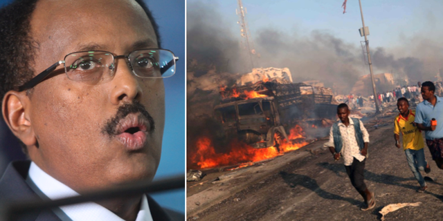 Somalias president Mohamed Abdullahi Mohamed/arkivbild, explosionen förra helgen i Mogadishu. TT