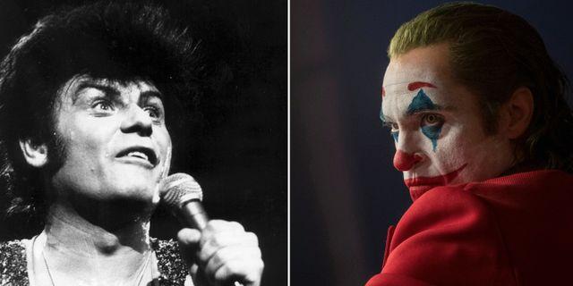 """Gary Glitter (arkivbild), Joaquin Phoenix från filmen """"Joker"""". TT"""
