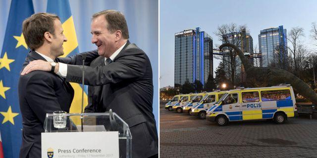 Frankrikes president Emmanuel Macron och Sveriges statsminister Stefan Löfven under mötet./Polisbilar som bevakade mötet.  TT