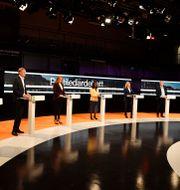 Bild från helgens partiledardebatt.  Jessica Gow / TT NYHETSBYRÅN
