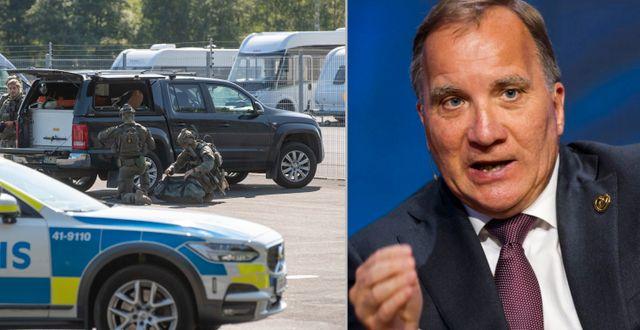 Polisinsatsen vid Hällbyanstalten / Stefan Löfven under sitt besök i Norge. TT.