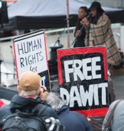 Manifestationer för Gui Minhai och Dawit Isaak. TT