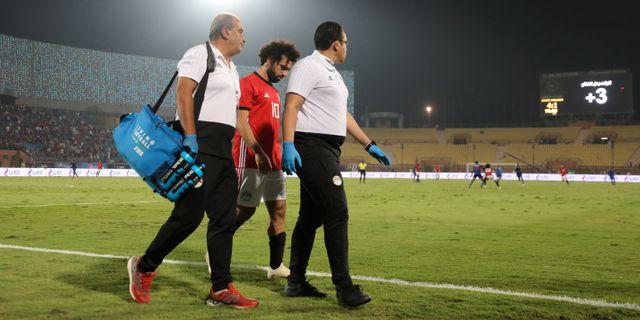 Mohamed Salah går av planen under matchen mellan Egypten och Swaziland.  MOHAMED ABD EL GHANY / TT NYHETSBYRÅN