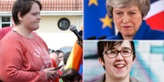 Sara Canning, Theresa May och Lyra McKee. TT
