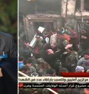 Bashar al-Jaafari, bild på förödelsen efter attentatet i Homs tidigare i dag. TT