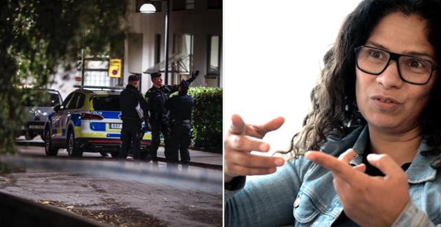 Polisinsatsen på torsdagskvällen i Hammarby sjöstad/Camila Salazar. TT