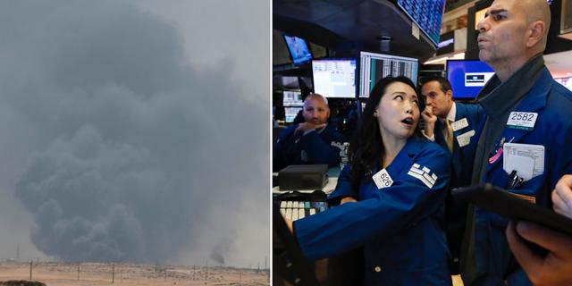 En av de brinnande oljeanläggningarna och mäklare på Wall Street. TT