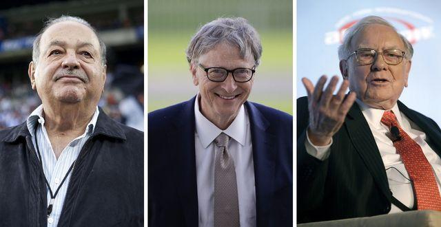 Carlos Slim, Bill Gates och Warren Buffet är tre av de mest givmilda miljardärerna.  Foto: Montage, TT