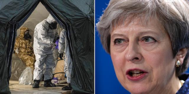Polis på plats i Salisbury och premiärminister Theresa May. TT