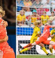 Hedvig Lindahl efter straffräddningen mot Kanada/Nilla Fischer räddar i bronsmatchen. Bildbyrån