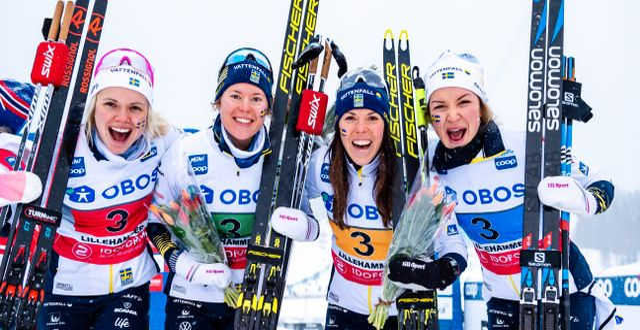 Emma Ribom, Elina Rönnlund, Charlotte Kalla och Moa Lundgren. MATHIAS BERGELD / BILDBYRÅN