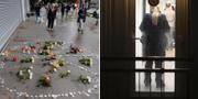 Vänstra bilden: Blommor utanför stormarknaden. Högra bilden: Polisen under husrannsakan.  TT