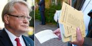 Försvarsminister Peter Hultqvist (S) och valsedlar utanför vallokal. TT