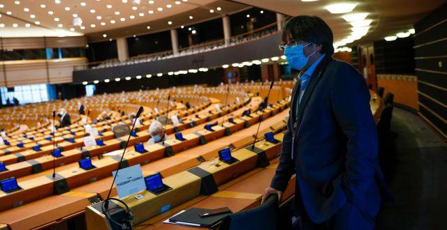 Carles Puigdemont i Europaparlamentet på måndagen Francisco Seco / TT NYHETSBYRÅN