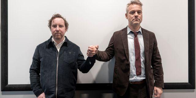 Uje Brandelius och Henrik Schyffert. Björn Larsson Rosvall/TT / TT NYHETSBYRÅN