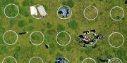 Arkivbild: Drönarbild över en park i San Francisco där cirklar ska hjälpa besökarna att hålla avstånd. JUSTIN SULLIVAN / TT NYHETSBYRÅN